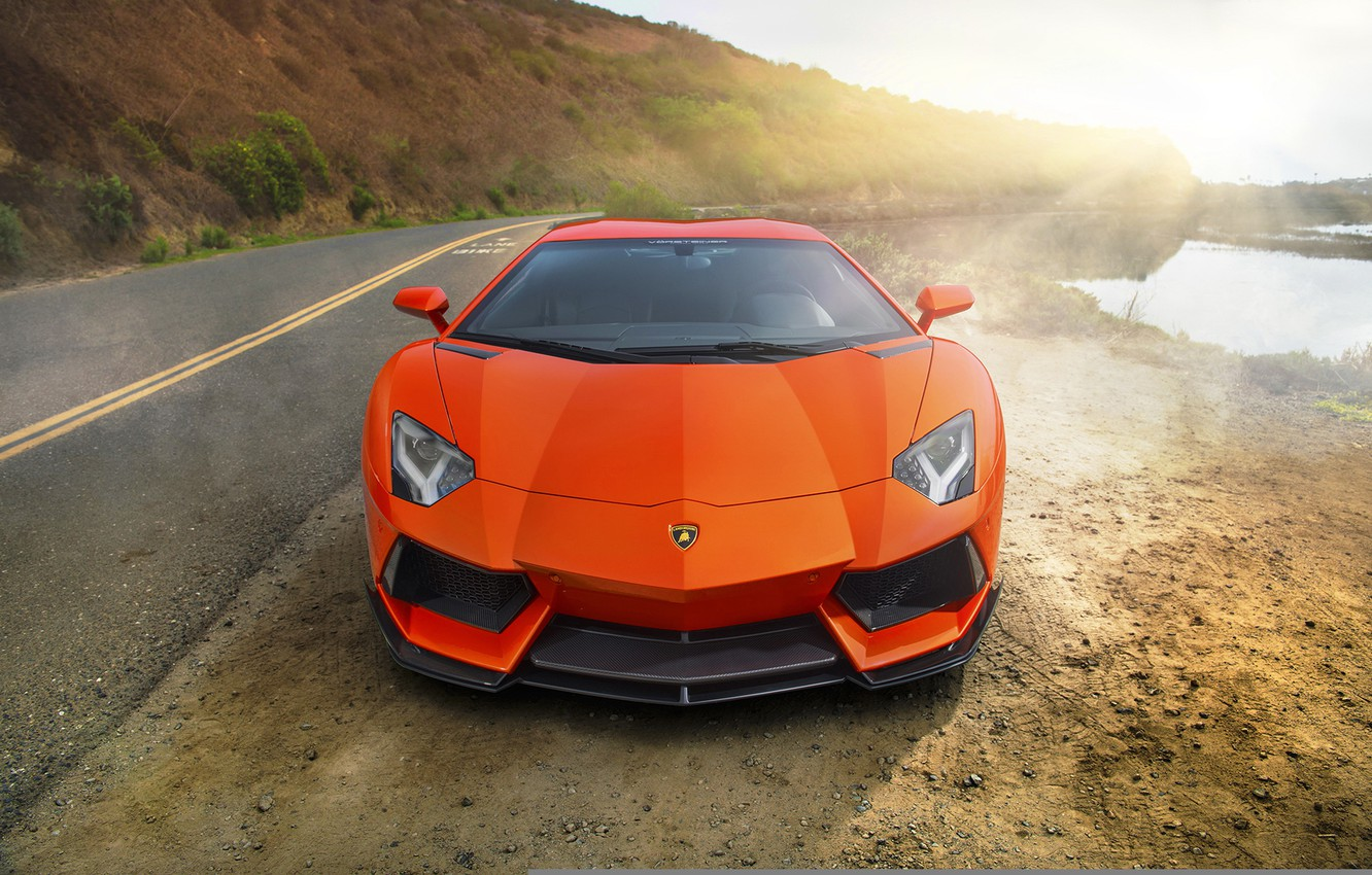 Фото обои supercar, orange, Lamborghini Aventador