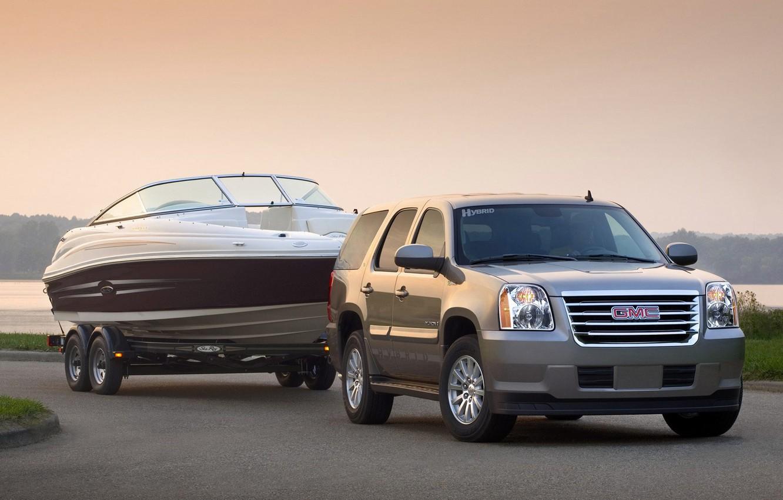 Фото обои лодка, прицеп, GMC, Yukon