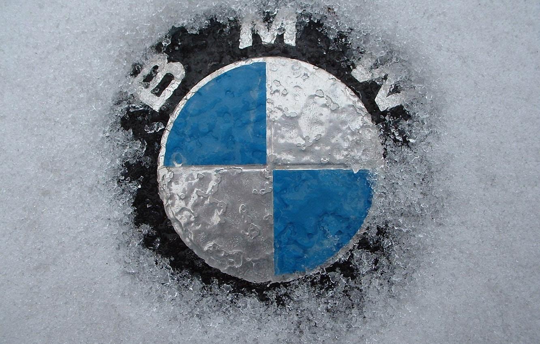 Фото обои снег, значок, BMW
