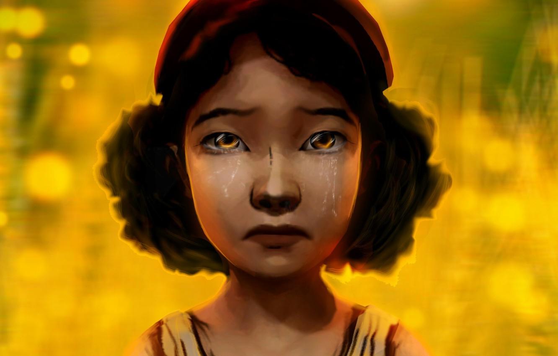 Фото обои game, слёзы, clementine, walking dead, Клементина