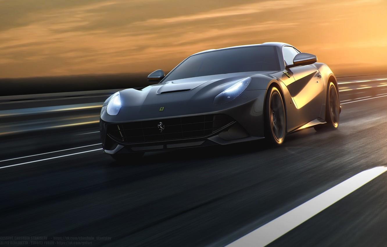 Фото обои Ferrari, Speed, Front, Sun, Road, Berlinetta, F12, Silver