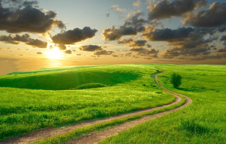 Фото обои дорога, лето, небо, солнце, облака, пейзаж, природа, холмы, утро, красиво