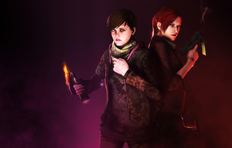 Фото обои red, girl, gun, pistol, game, red hair, weapon, woman, Resident Evil, pretty, survivor, redhead, brunette, ...