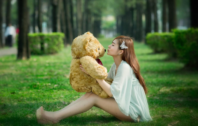 Фото обои девушка, мишка, азиатка