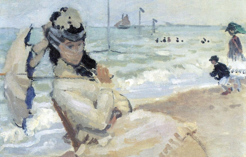 Обои Клод Моне, Два Рыбака, картина, лодка, Пейзаж. Разное foto 11