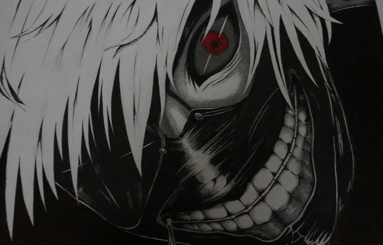 Фото обои аниме, маска, белые волосы, anime, красный глаз, Tokyo Ghoul, Kaneki Ken, Токийский Гуль, Канеки кен