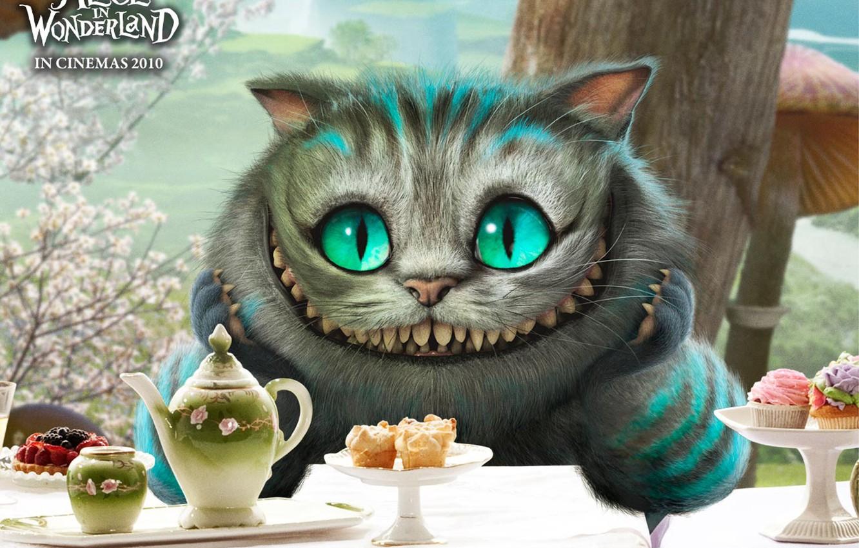 Фото обои Улыбка, Глаза, Alice in Wonderland, Посуда, Алиса в стране чудес, Фарфор, Чеширский кот