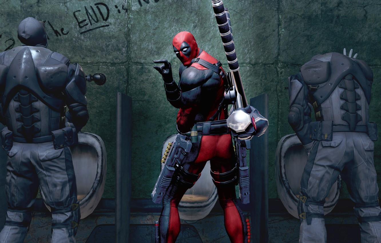 Фото обои оружие, Marvel, Дэдпул, Wade Wilson, Deadpool: The Game, toilet, антигерой