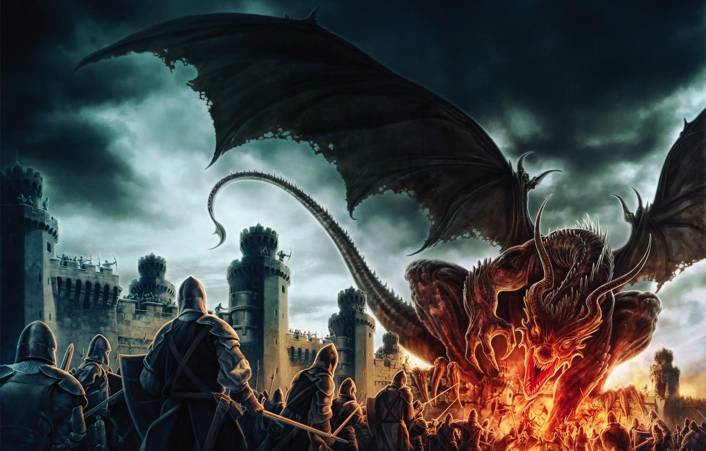 Фото обои пламя, дракон, доспехи, битва, крепость, Арт, воины, by Koveck
