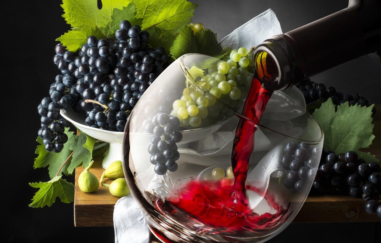 Фото обои вино, бокал, виноград, glass, wine, grapes, drink