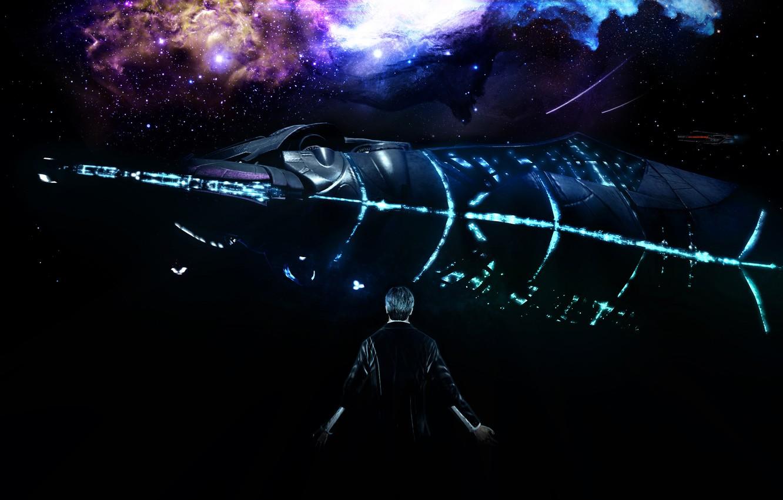 Фото обои космос, рендеринг, призрак, mass effect, bioware, жнец, illusive man, reaper, пожинатель