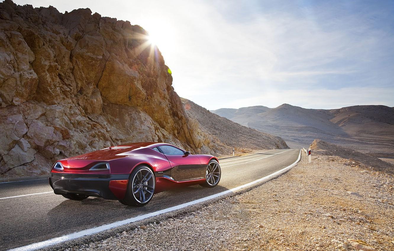 Фото обои дорога, скала, Солнце, суперкар, Concept One, Rimac