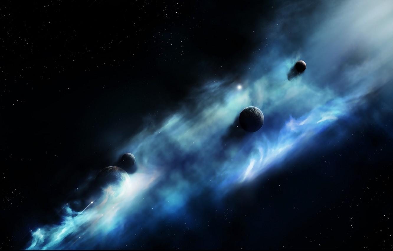 Фото обои космос, звезды, туманность, планеты