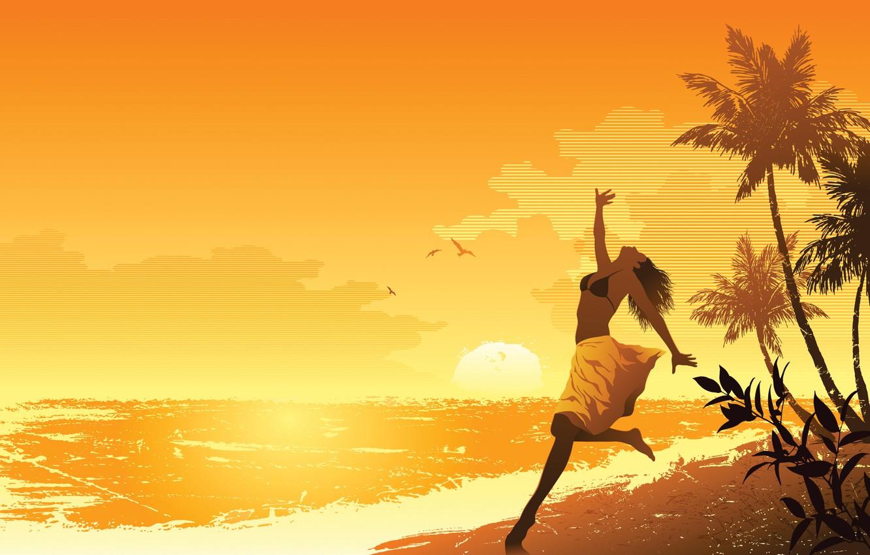 Фото обои море, пляж, лето, девушка, настроение, арт