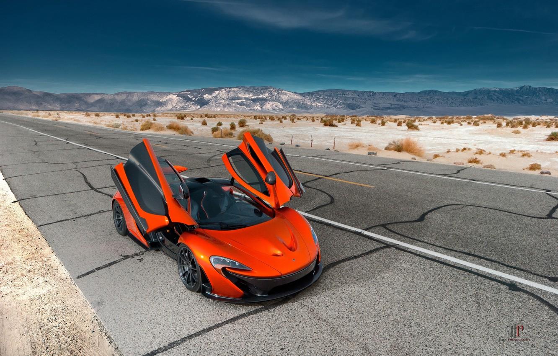 Фото обои McLaren, Orange, Front, Hybrid, Death, Sand, Supercar, Valley, Hypercar, Exotic, Volcano, Doors