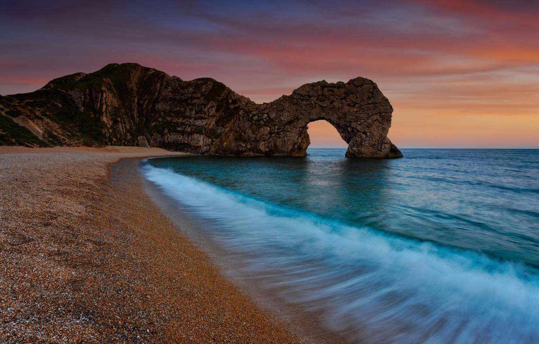 Фото обои море, вода, закат, природа, галька, скала, камни, океан, скалы, берег, побережье, пейзажи, камень, вечер, арка, …