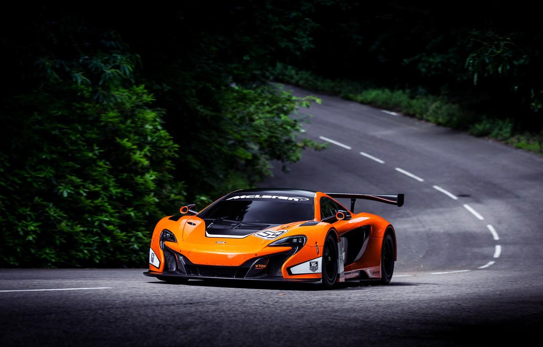 Фото обои McLaren, Авто, Дорога, Лес, Машина, Асфальт, Оранжевый, День, GT3, Спорткар, 650S
