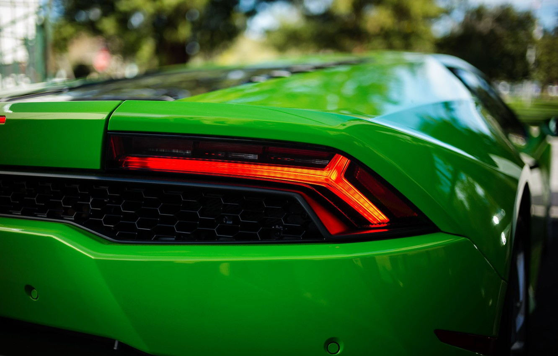 Фото обои green, боке, Lamborghini Huracán