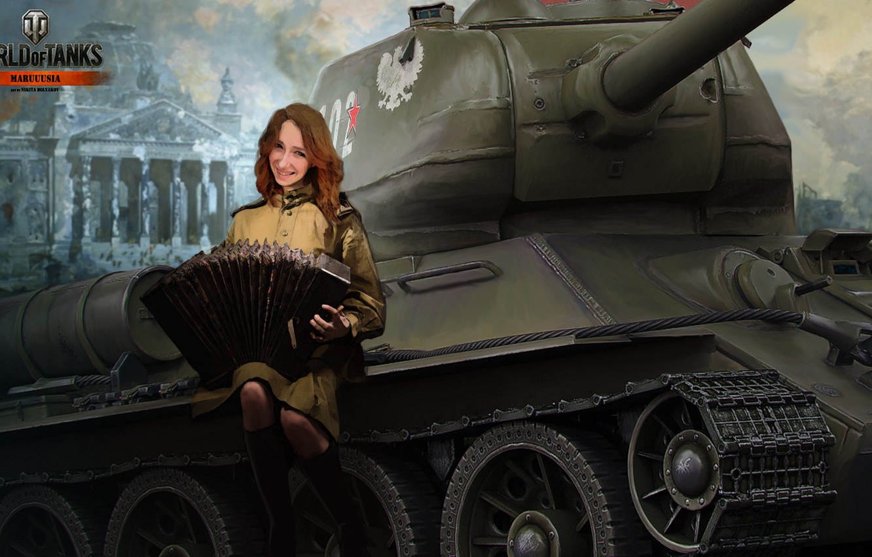 Wallpaper WOT Nikita Bolyakov tank STB-1 Kimono young