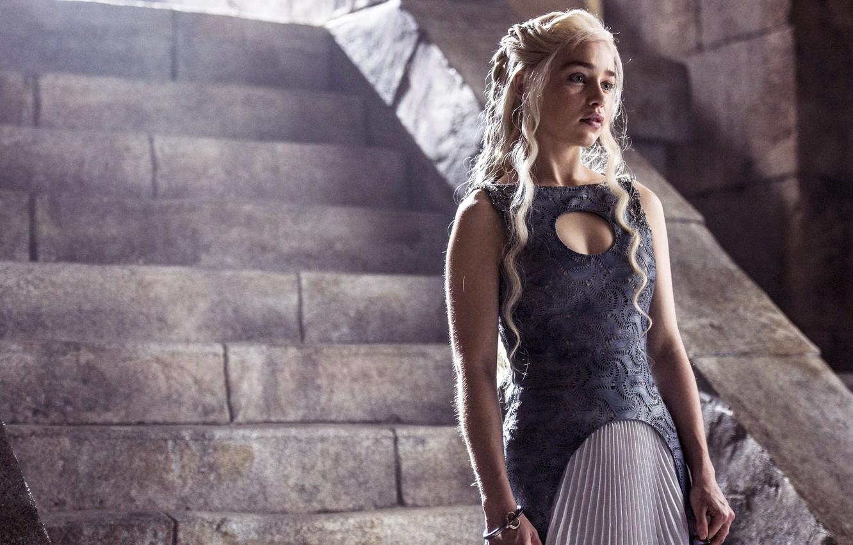 Фото обои Актриса, Сериал, ступеньки, скриншот, Game of Thrones, Игра престолов, Emilia Clarke, Эмилия Кларк, Targarye, Danereys