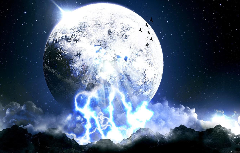 Фото обои небо, луна, мир