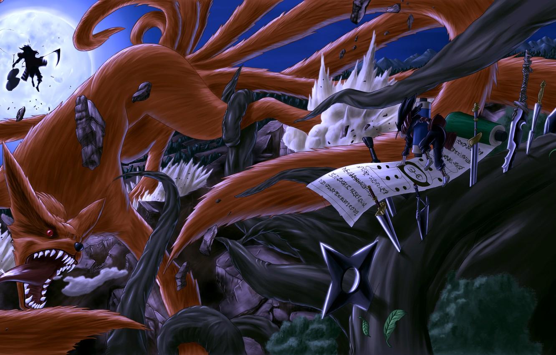 Фото обои ночь, оружие, луна, арт, битва, naruto, kyuubi, senju hashirama, uchiha madara, vinc3412