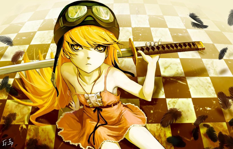Фото обои девушка, катана, перья, шахматная доска, яростный взгляд