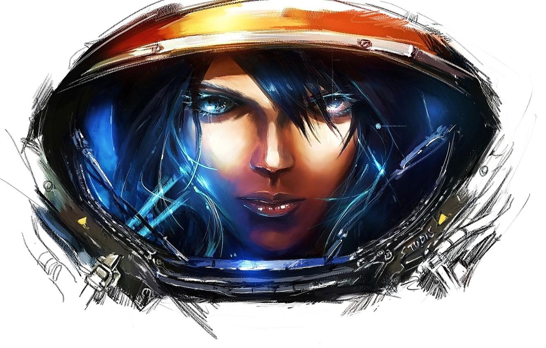 Фото обои девушка, игры, арт, белый фон, starcraft, starcraft 2, starcraft II