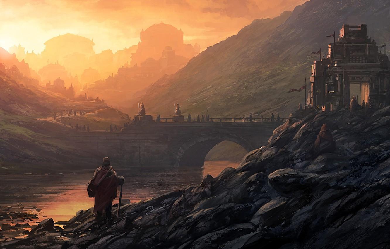 Фото обои пейзаж, мост, город, река, восход, камни, люди, замок, холмы, арт, Andreas Rocha