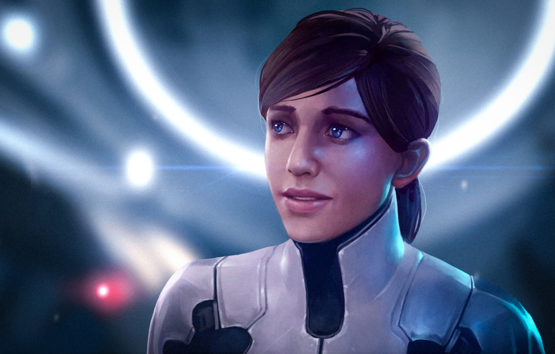 Фото обои женщина, арт, рыжая, mass effect, bioware, andromeda, Mass Effect: Andromeda
