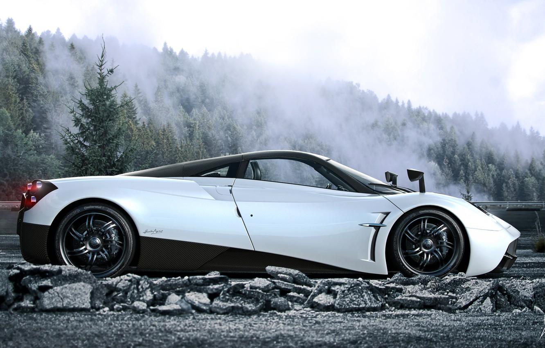 Фото обои Pagani, White, Side, Road, Supercar, Huayra, Fog, Forest