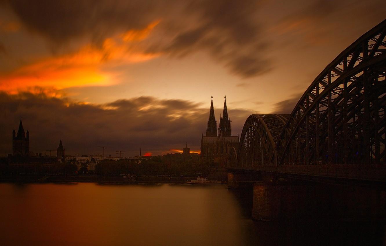 Фото обои небо, пейзаж, мост, река, вечер, Германия, собор, Кёльн