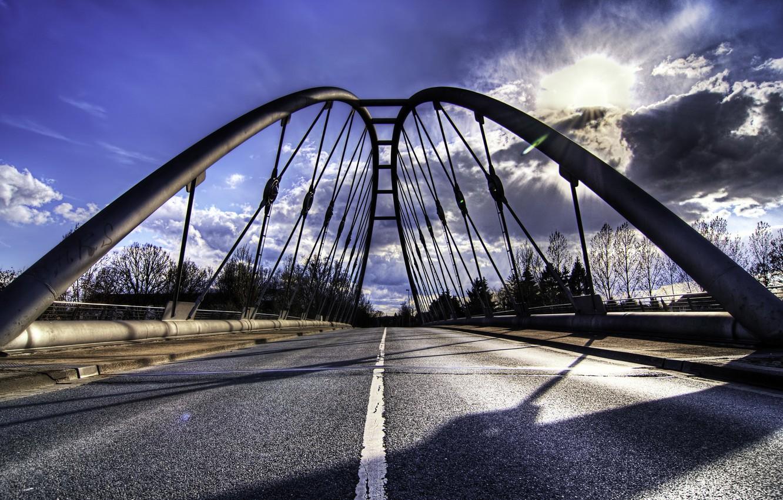 Фото обои дорога, пейзаж, мост