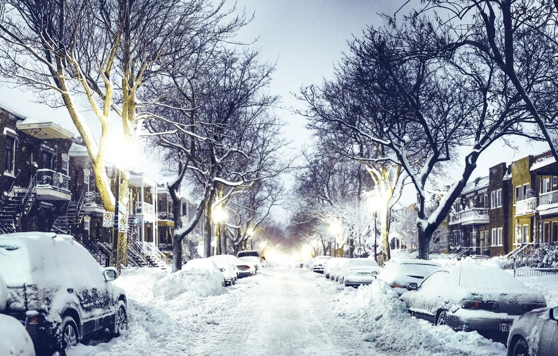 Фото обои зима, дорога, снег, машины, город, улица, дома, вечер, Канада, фонари, Canada, Quebec, Квебек