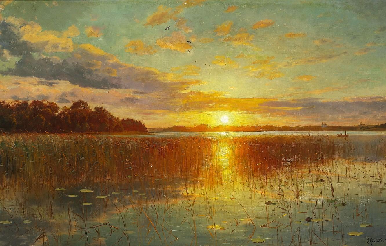 Фото обои небо, солнце, облака, деревья, пейзаж, закат, отражение, река, картина, Peder Monsted