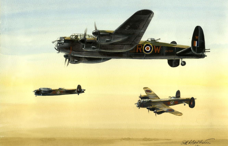 Обои avro lancaster, бомбардировщик, четырёхмоторный. Авиация foto 7
