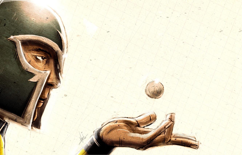 Фото обои лицо, рука, шарик, шлем, ладонь, супергерой, стальной, Magneto, Магнето, Marvel Comics