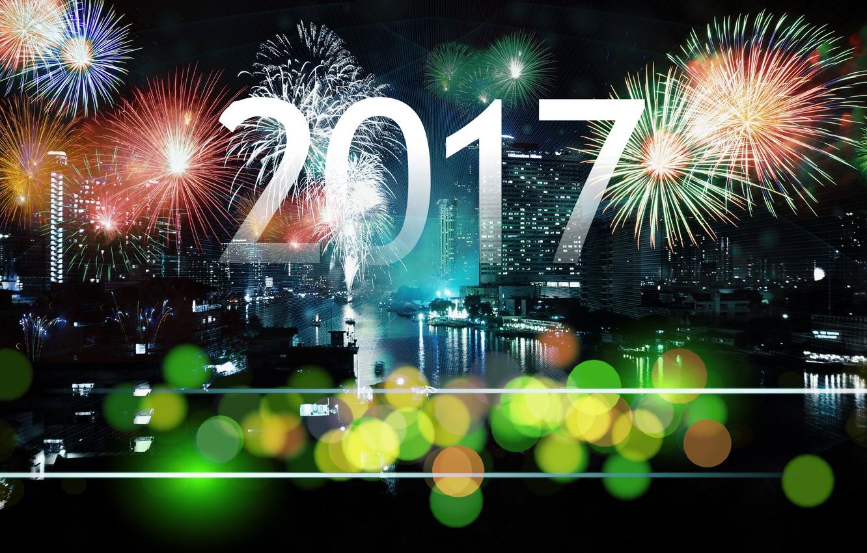 Фото обои ночь, город, огни, темнота, фон, настроение, праздник, черный, темный, графика, здания, новый год, салют, цифры, …