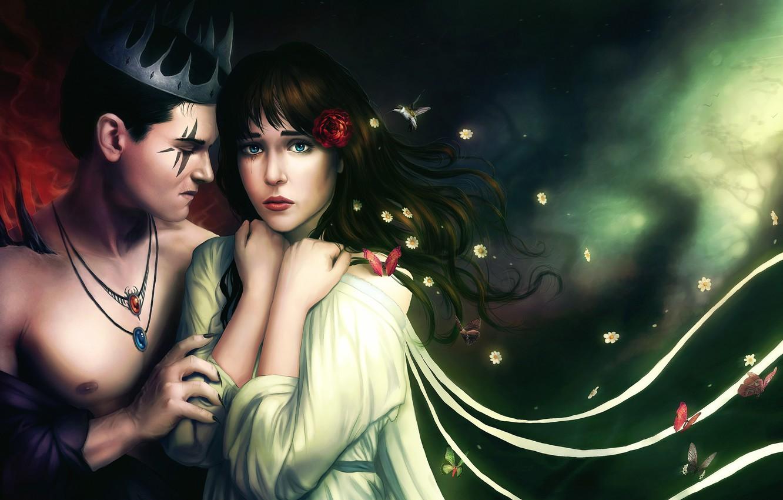 Фото обои девушка, бабочки, цветы, птица, роза, ромашки, корона, демон, тату, колибри, арт, кулон, парень, Аид, Persephone