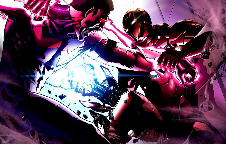 Фото обои энергия, битва, железный человек, marvel, iron man, чудо человек, wonder man