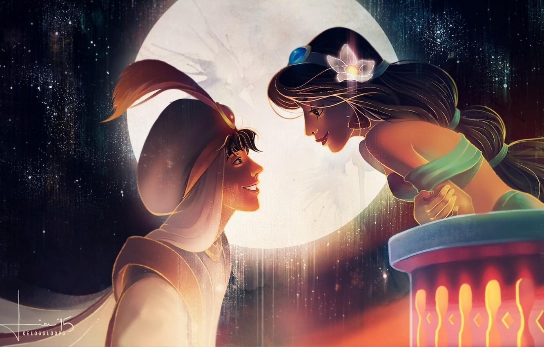 Фото обои цветок, небо, девушка, улыбка, луна, арт, парень, аладдин, jasmine, aladdin, kelogsloops