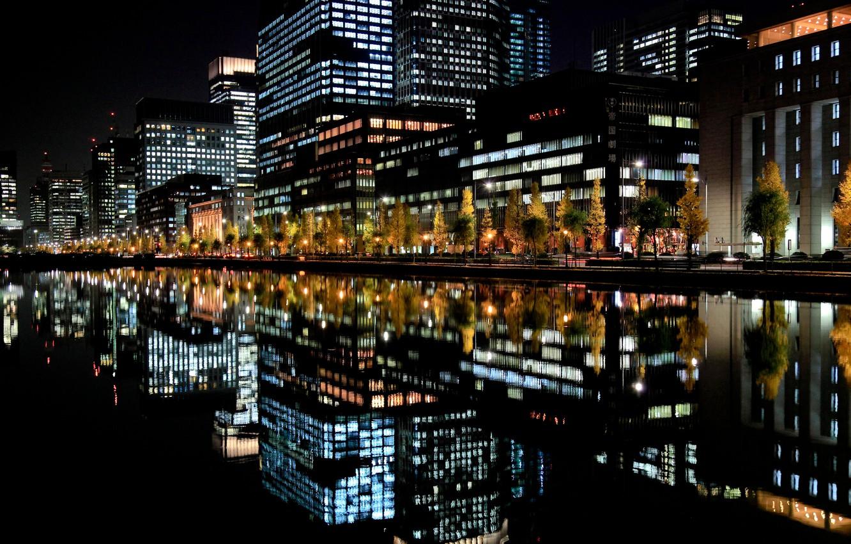 Фото обои ночь, город, огни, отражение, япония
