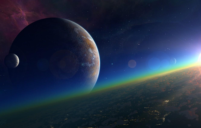 Фото обои солнце, космос, звезды, поверхность, туманность, планета, спутник