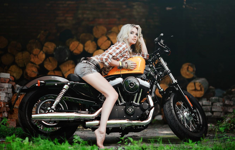 Фото обои девушка, Харлей, мотоцикл, Harley Davidson, байк, photo, Maxim Gurtovoy
