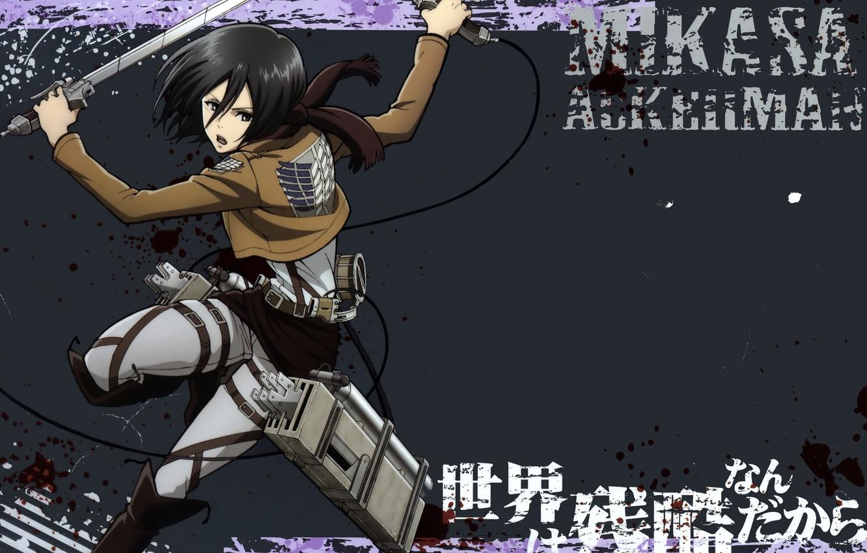 Фото обои кровь, пятна, клинки, военная форма, брызги крови, вторжение гигантов, Shingeki no kyojin, Misaka Ackerman