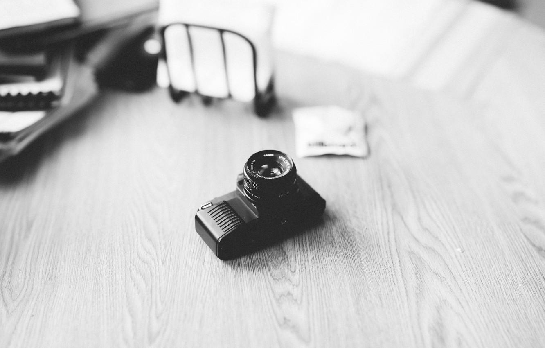 Фото обои стол, объектив, Canon, T50