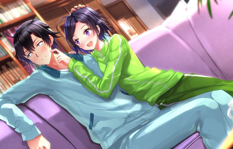Фото обои девушка, парень, anime, art, брат, Komachi Hikigaya, oregairu, Hachiman Hikigaya