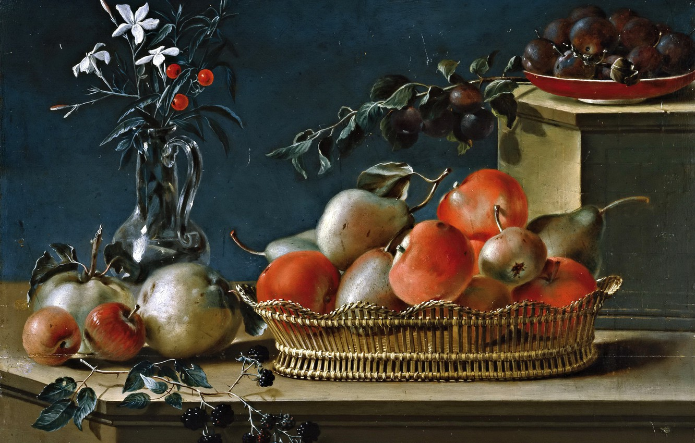 Фото обои ягоды, яблоки, картина, груша, корзинка, Jose Ferrer, Натюрморт с Фруктами и Стеклянной Вазой