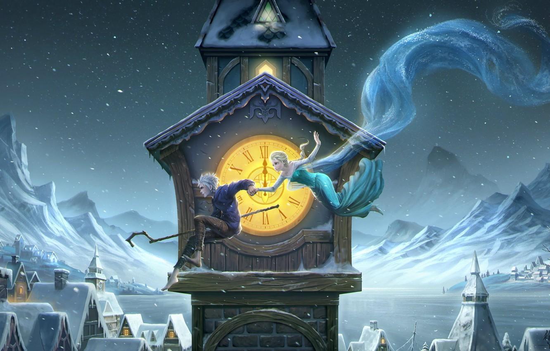 Фото обои зима, девушка, ночь, башня, парень, art, frozen, полночь, Rise of the Guardians, Jack Frost, elsa