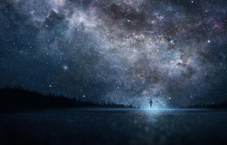 Фото обои небо, звезды, ночь, арт, парень, iy tujiki